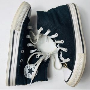 Converse. Black high tops with animal print